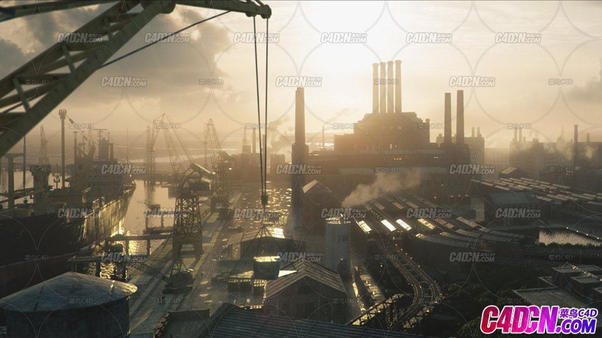 港口码头工厂场景3D模型
