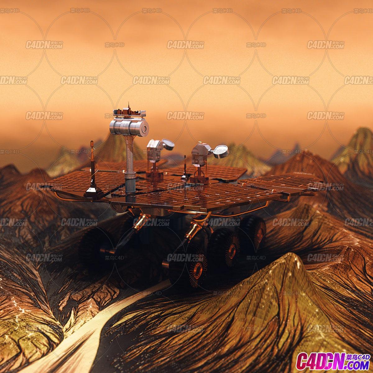 C4D精品工程 No.431 地外行星山脉火星车探测车