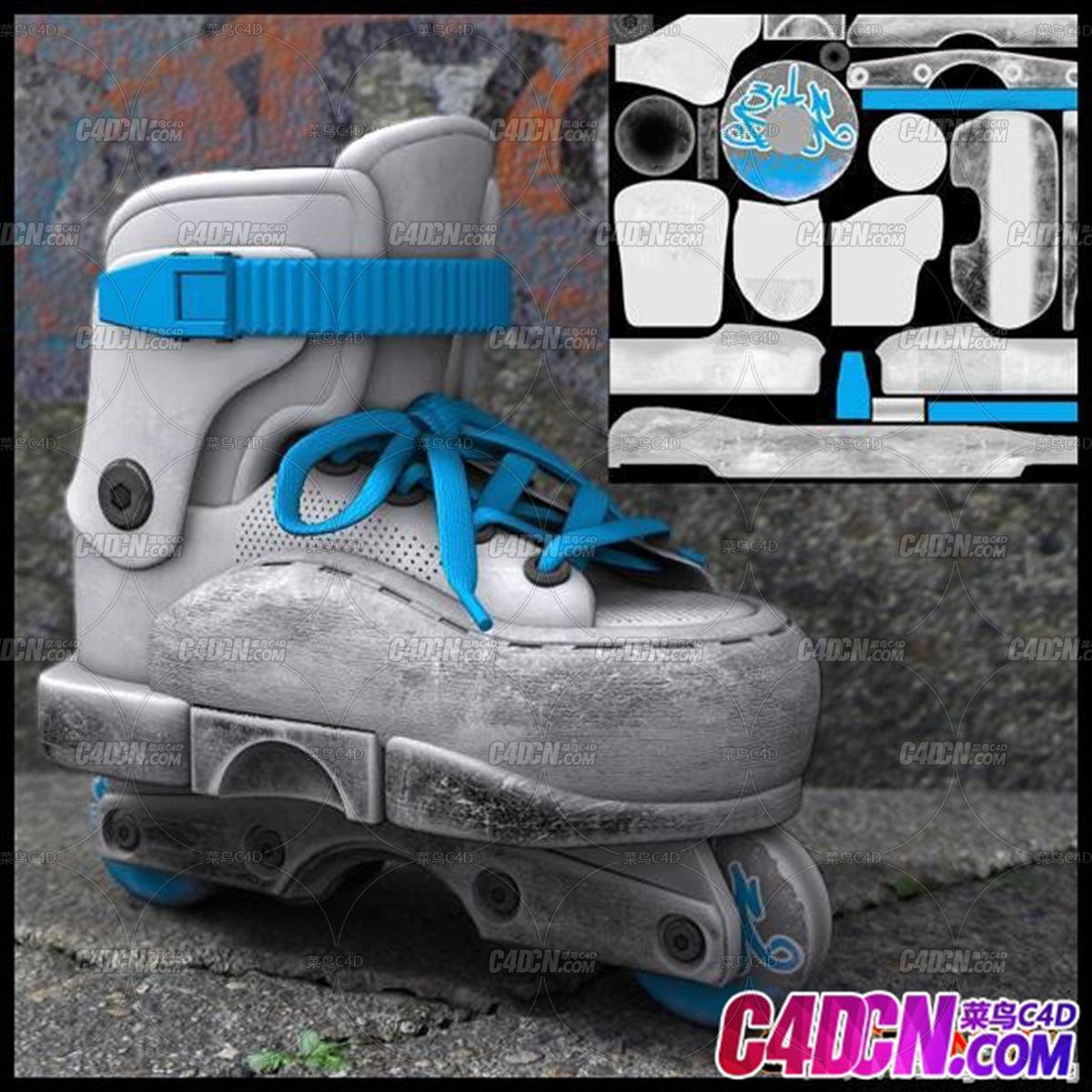 白色二轮旱冰鞋 Skates
