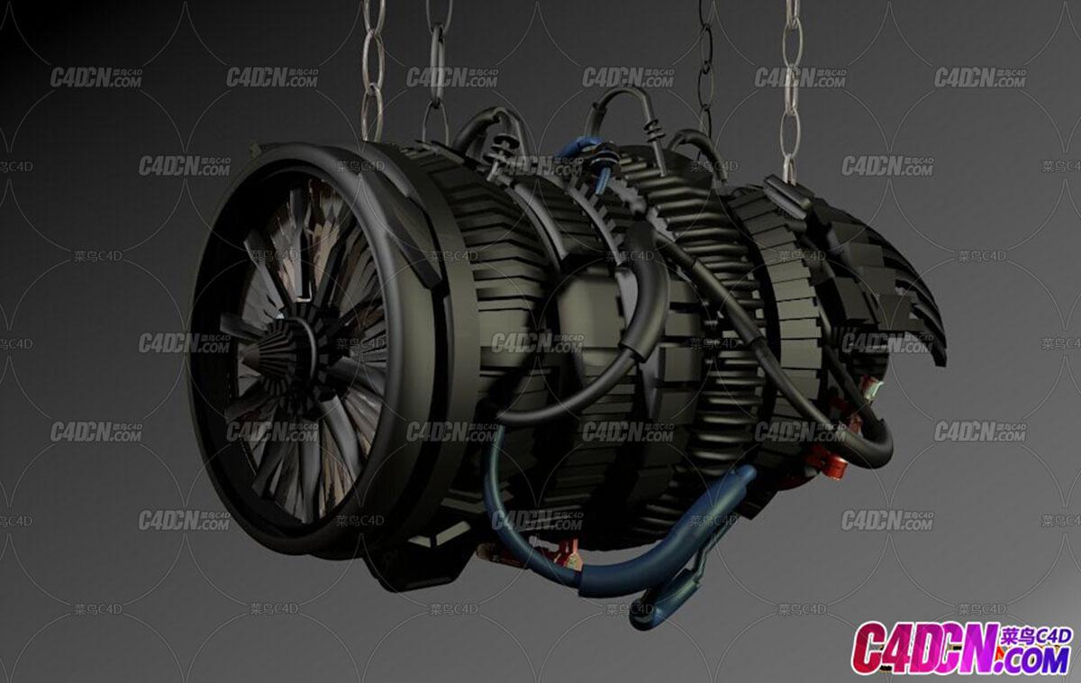 涡轮航空发动机C4D模型