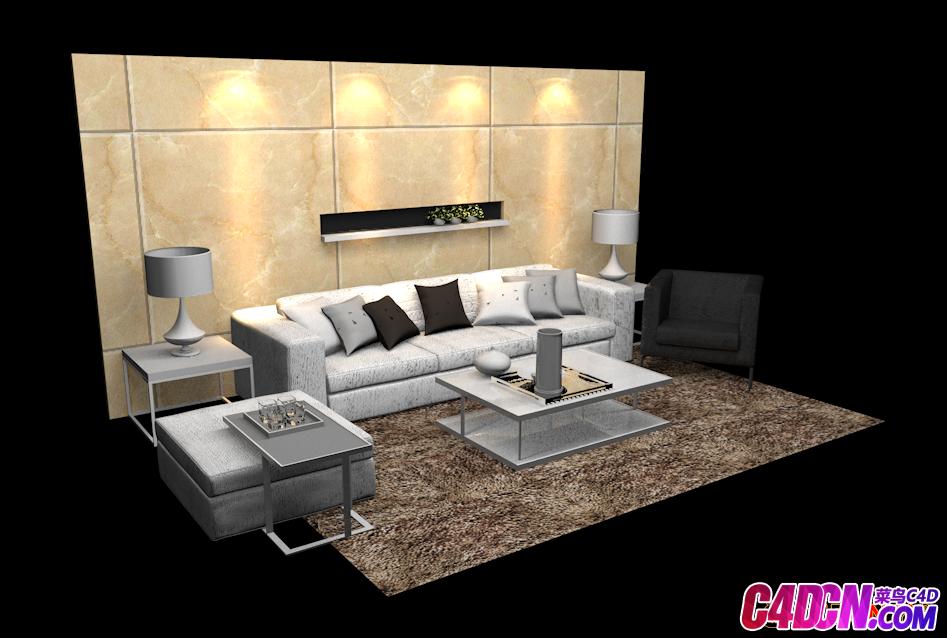 沙发组合3D模型2