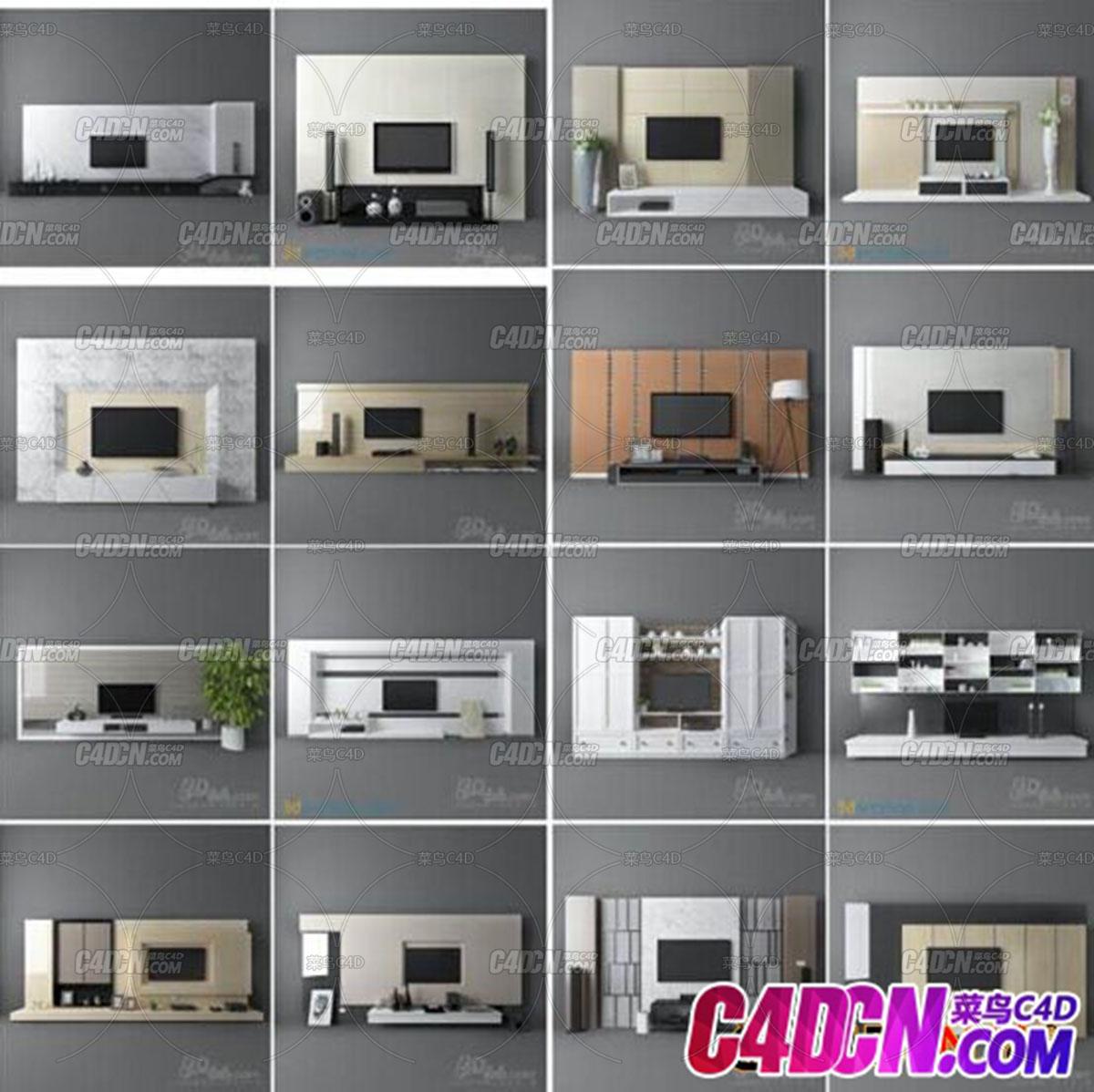 64套电视背景墙电视柜模型64套电视背景墙,电视柜模型