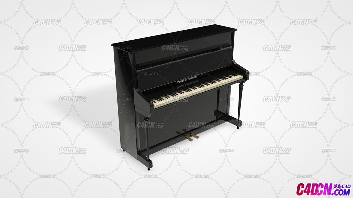 C4D钢琴模型Upright Piano