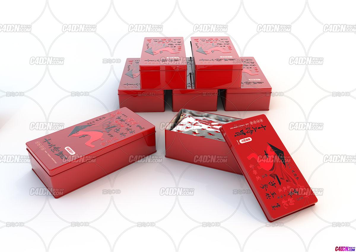 C4D模型 方形铁罐子产品包装