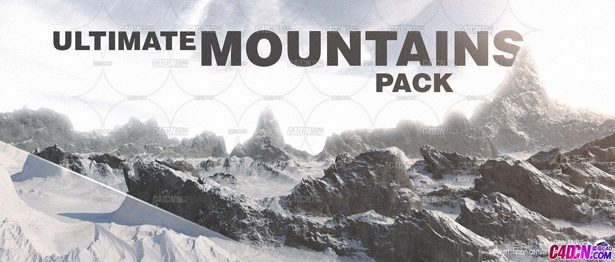 22座C4D山脉模型