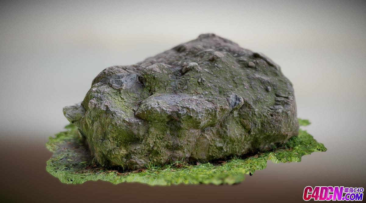 C4D模型 逼真写实的长满苔藓的石头岩石模型