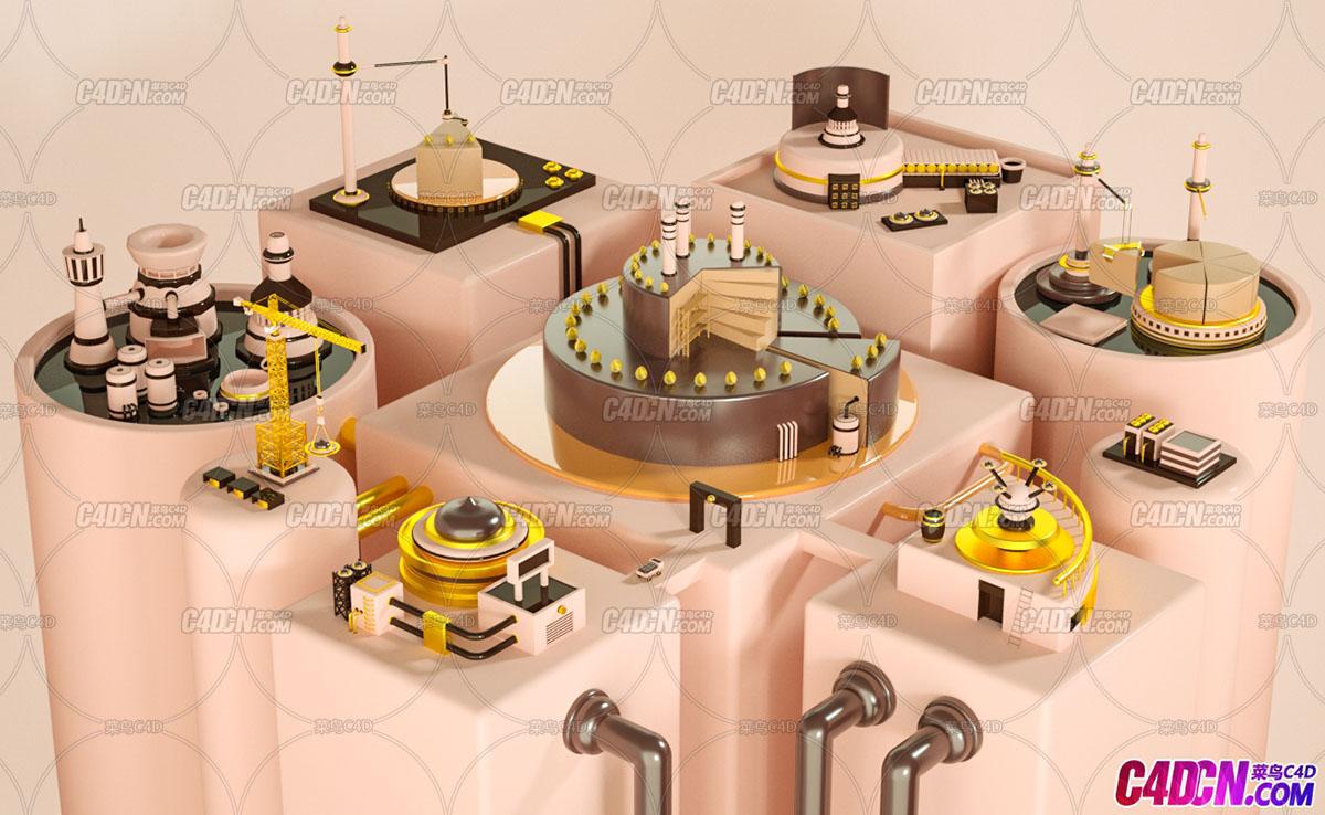 C4D蛋糕平台工业动画工程