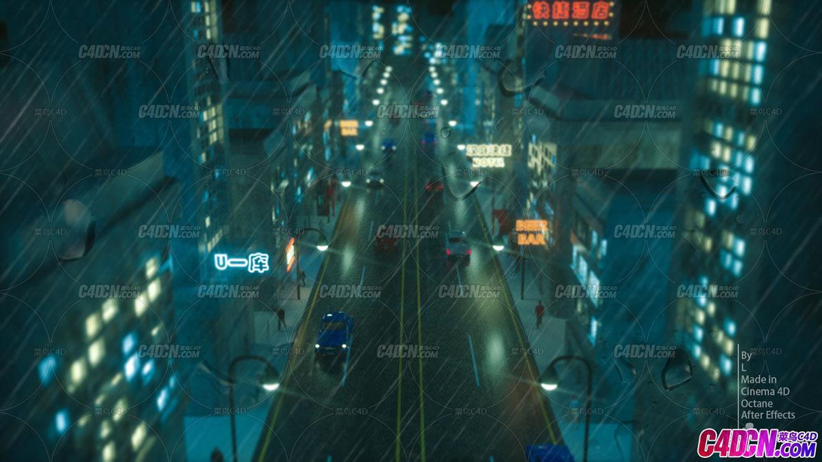 C4D模型,场景,雨后夜景
