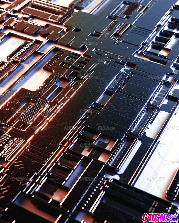 C4D精品工程 No.526 科幻电路板纹路