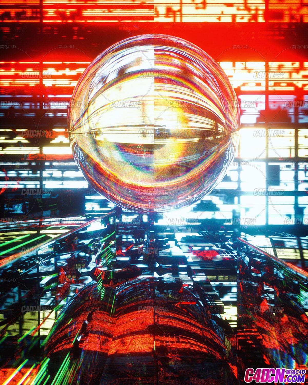 C4D精品工程 No.561 燈光空間玻璃球