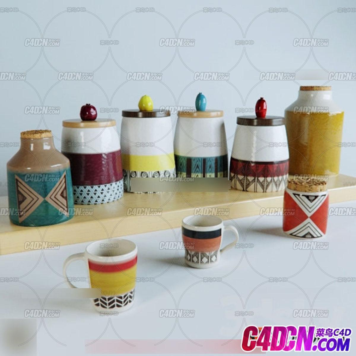 现代厨房装修用品模型003 陶瓷杯子 水杯