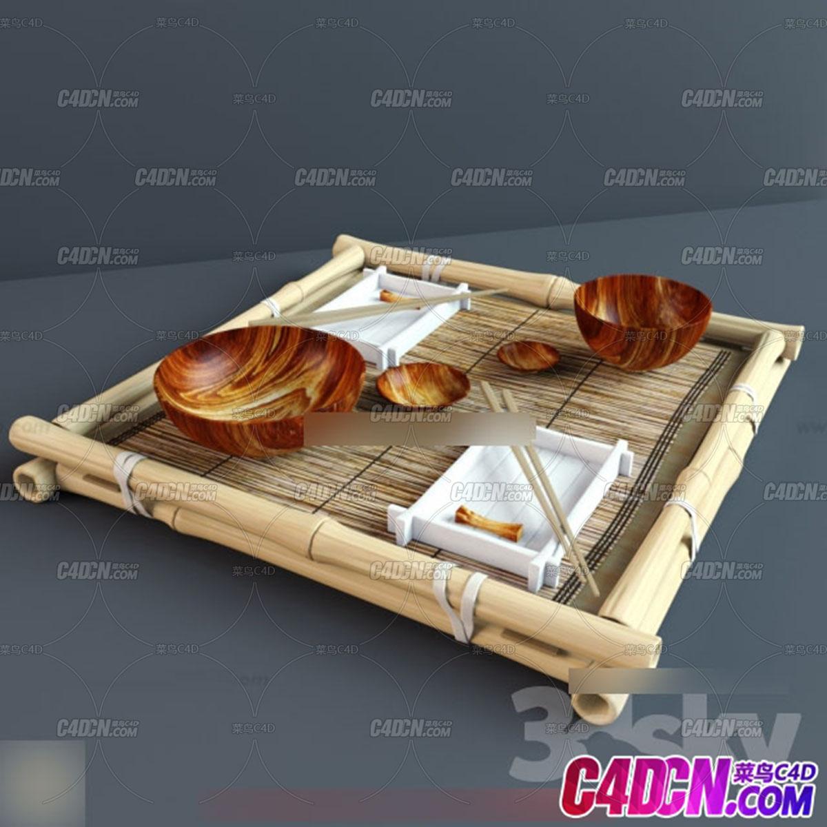 现代厨房装修用品模型023 竹盘 筷子 瓷碗 碟子