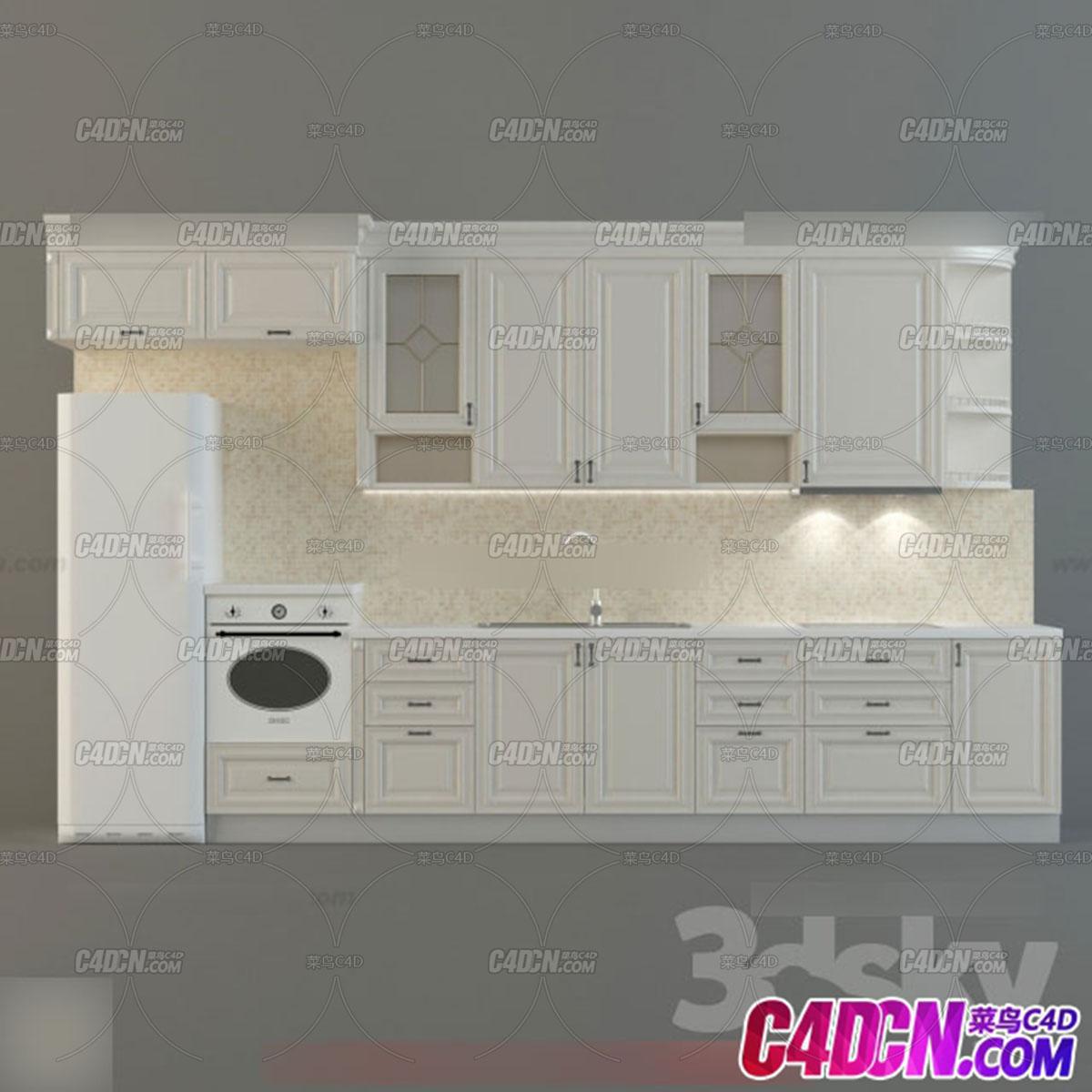 现代厨房装修用品模型026 简约风格灶台装修