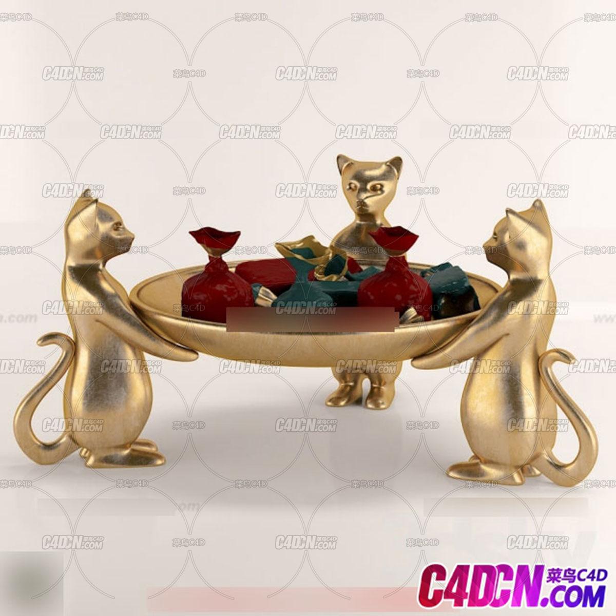 现代厨房装修用品模型082 小猫雕塑托盘 桌子