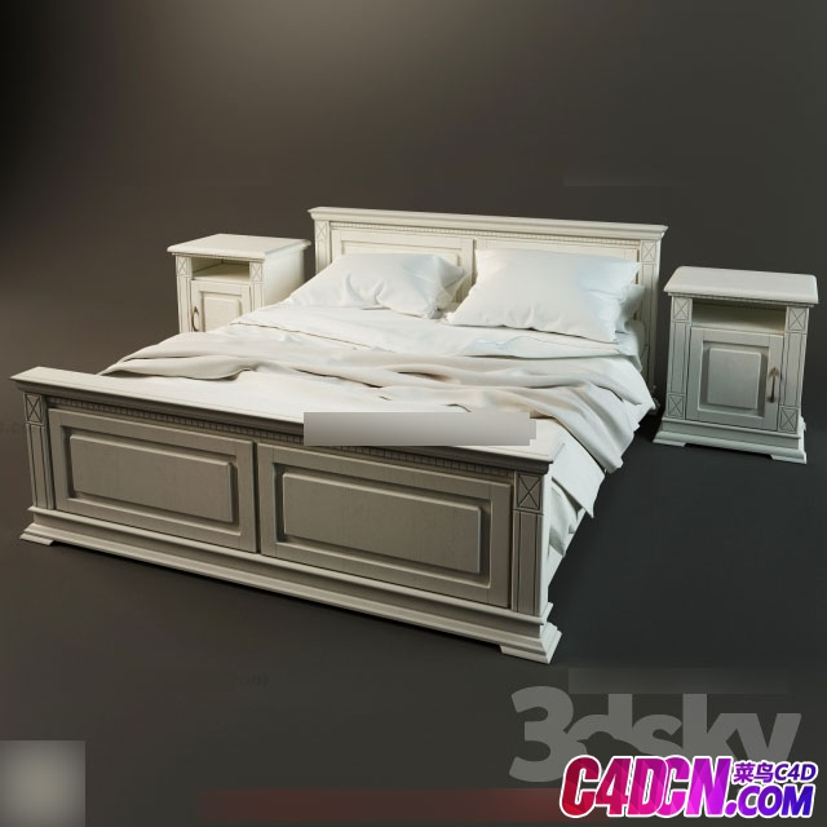 新中式实木材质家具双人床和床头柜 枕头 被子模型