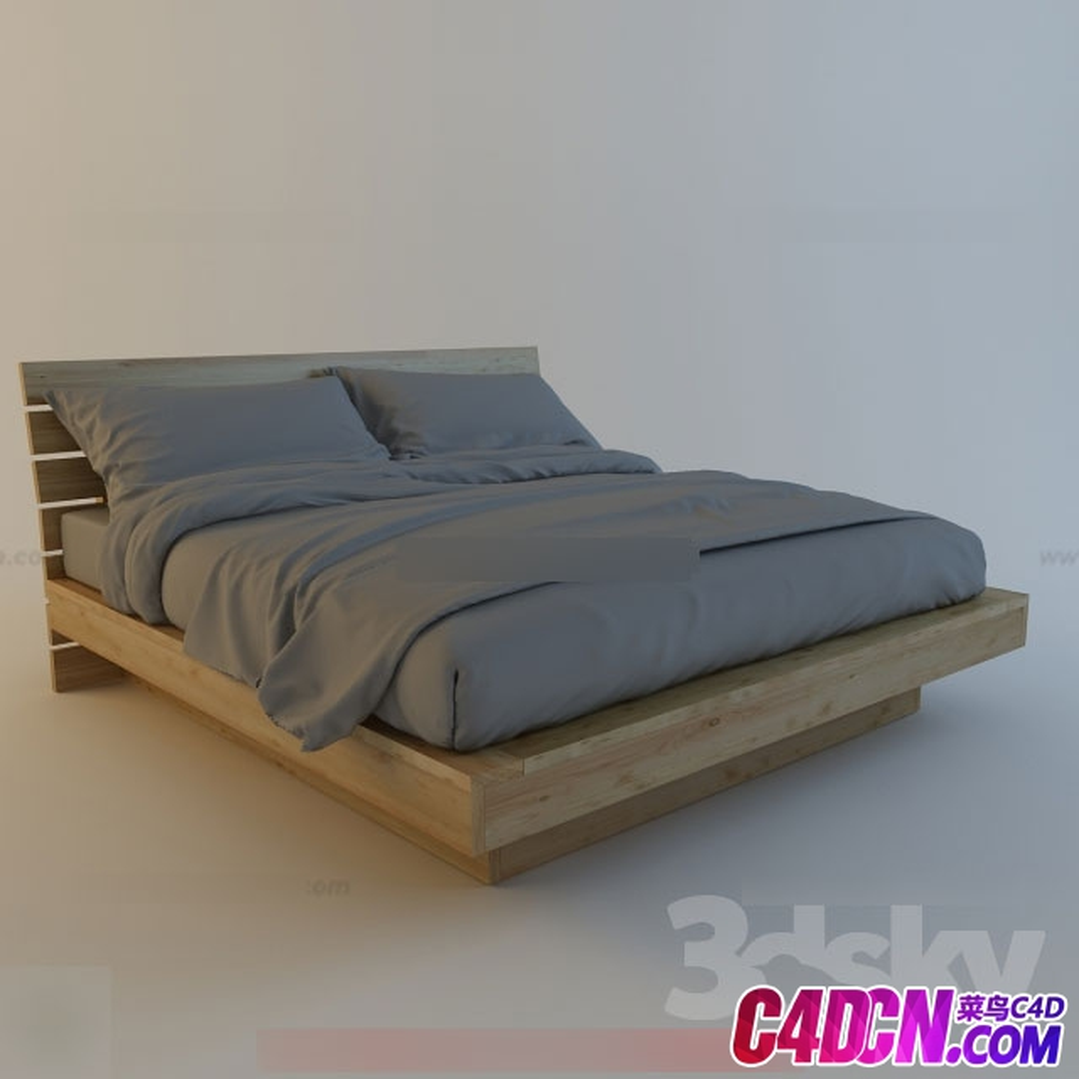 中式实木双人床木板床MAX模型下载