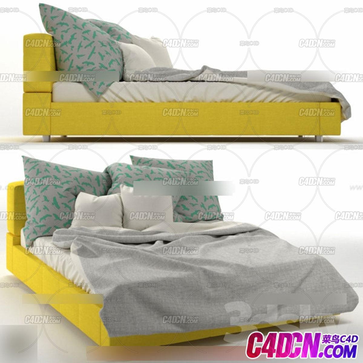 室内设计卧室家具模型 床117.jpg