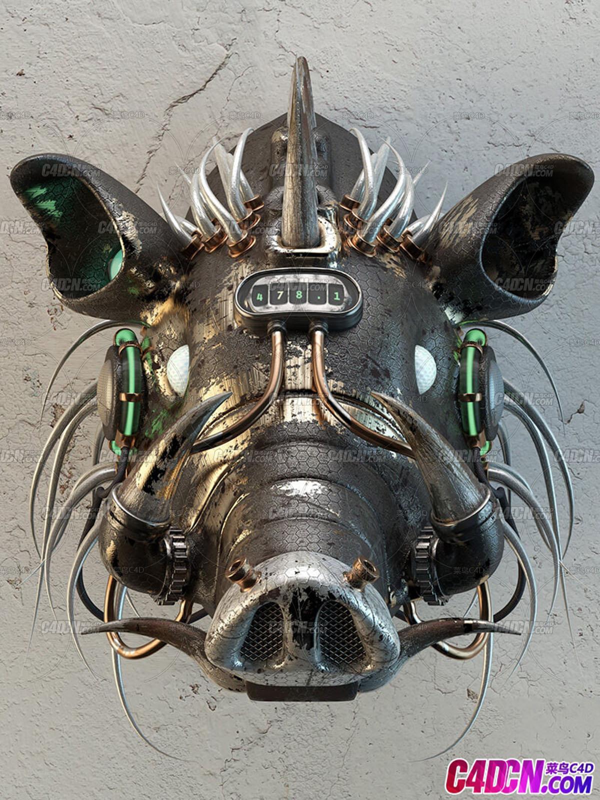 机械朋克风格野猪头装饰品工艺品C4D模型 Mechanical punk style wild boar head ornament crafts C4D mo