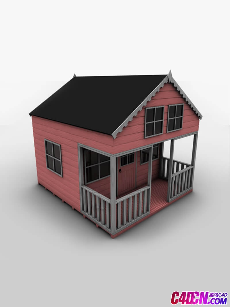 帶陽臺的木屋建筑房子C4D模型 Wooden house building house with balcony C4D model