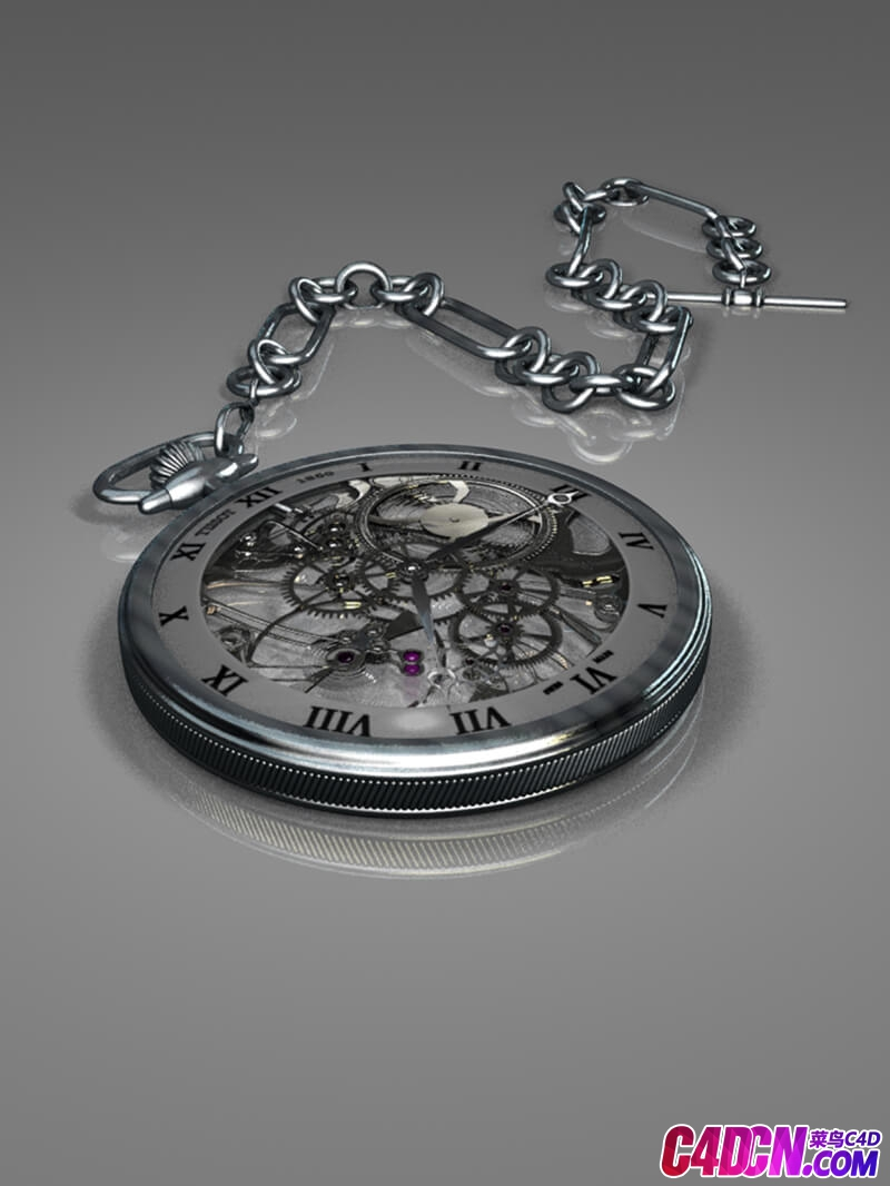 机械怀表外露表盘C4D模型 Mechanical pocket watch exposed dial C4D model
