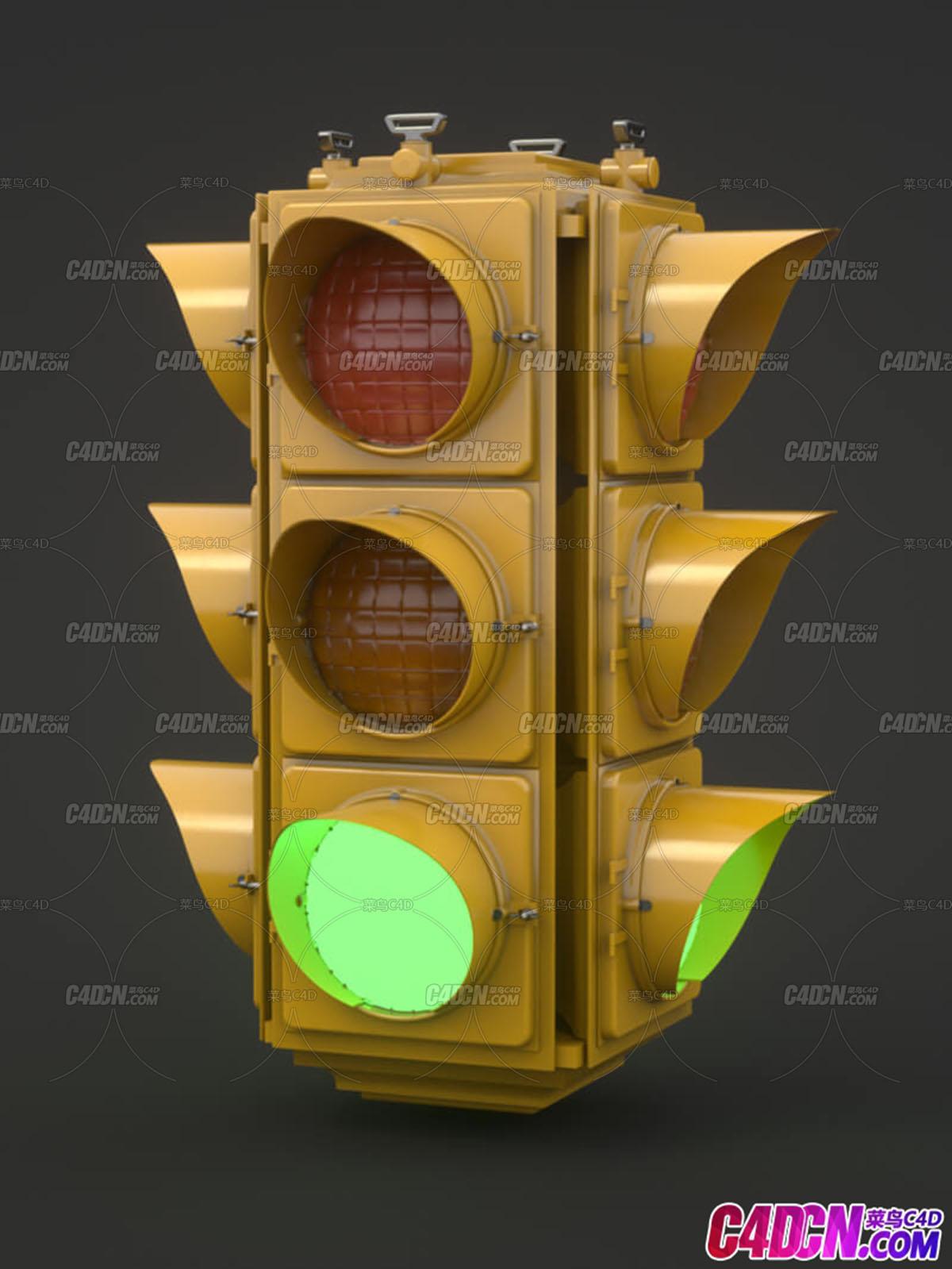 交通红绿灯路况设施C4D模型
