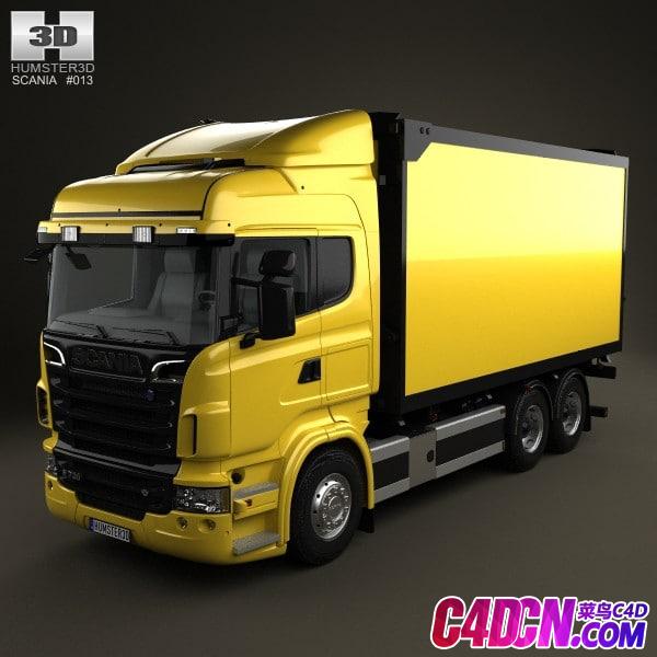 大型厢式货车 运输车卡车牵引车C4D模型 Scania R 730 Box Truck 2010 C4D Model