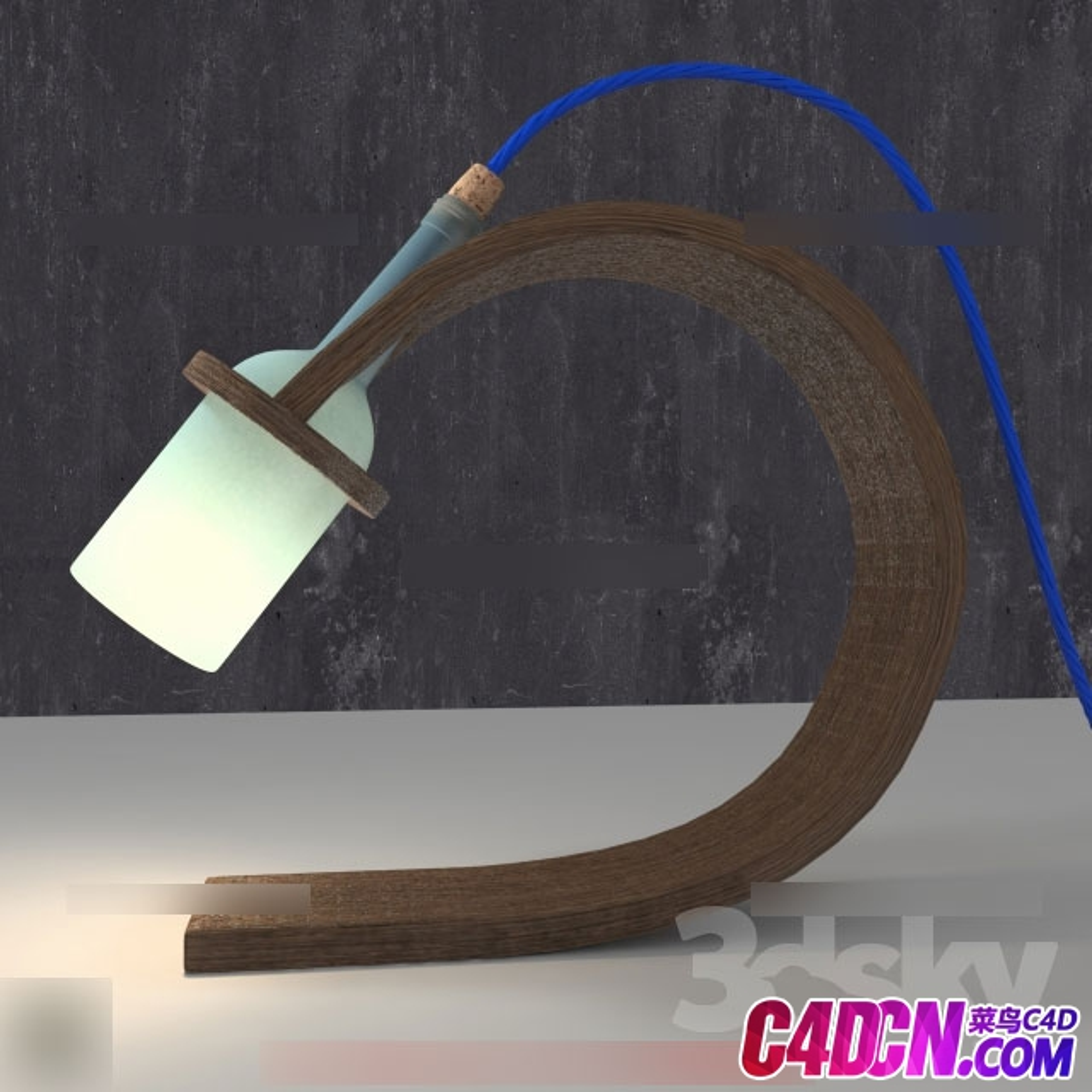 实木U形板底座酒瓶灯罩造型壁灯CG模型下载