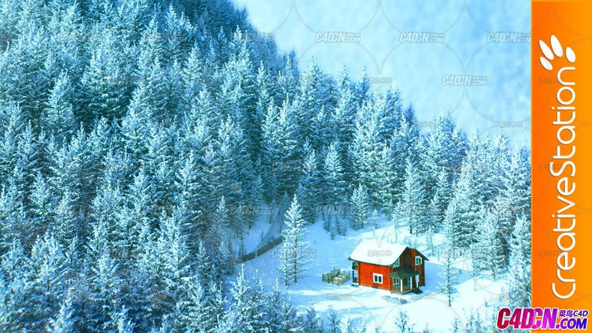 C4D教程 大型松树森林大雪场景雪山制作教程[倍速] Octane