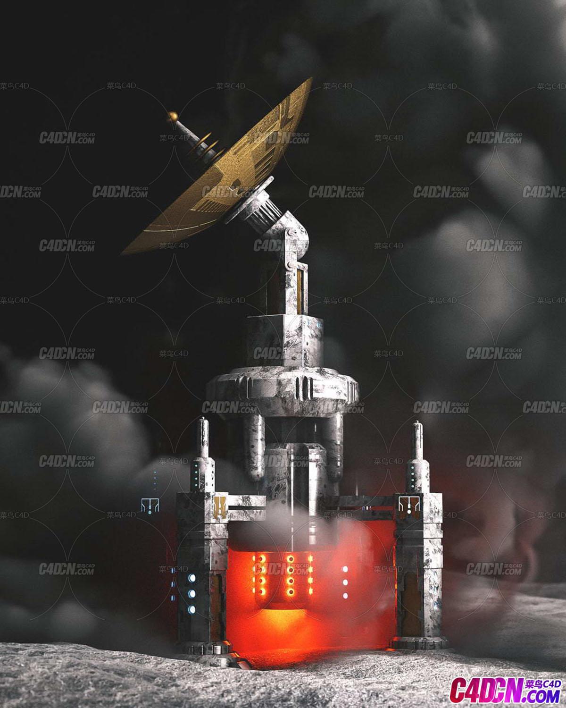 Octane渲染器科幻宇宙星球殖民地信号塔卫星基站建筑C4D模型