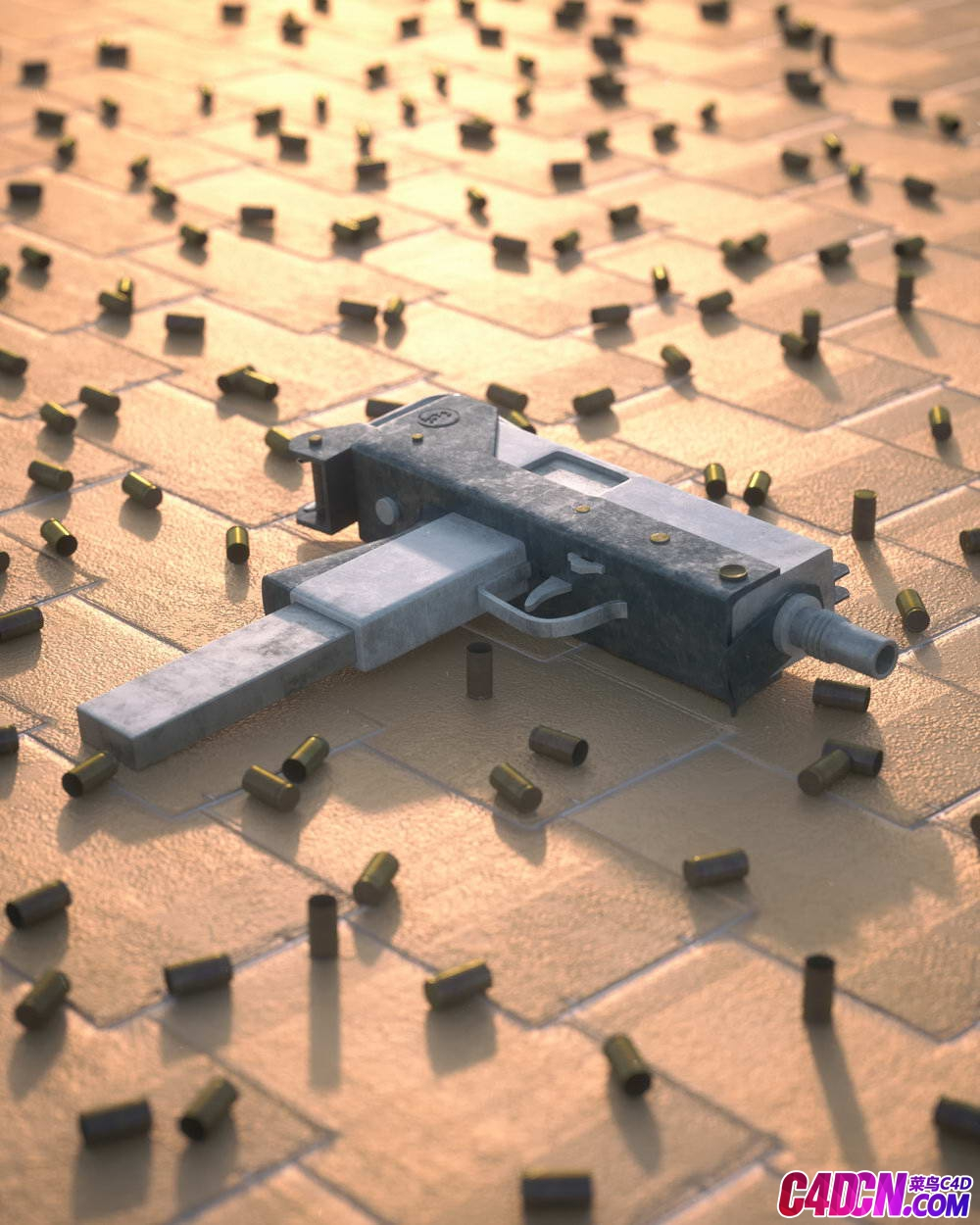 Octane渲染器破旧冲锋枪子弹壳C4D模型 Octane renderer worn out submachine gun bullet shell C4D