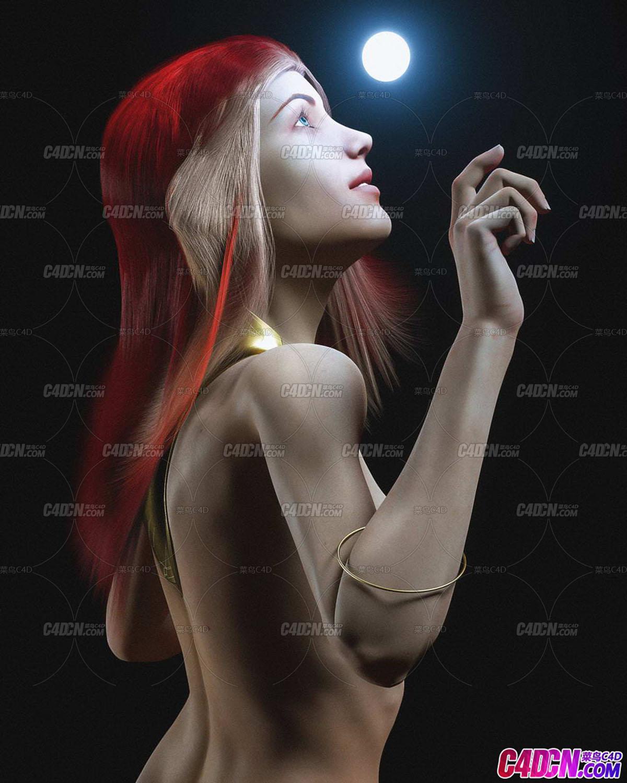 Octane渲染器紅色頭發女性寫實人體C4D模型