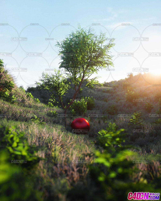 C4D植物工程 山坡草地绿树叶子植被蓝色天空场景