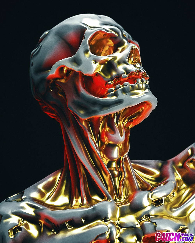 C4D模型 钛合金骷髅材质