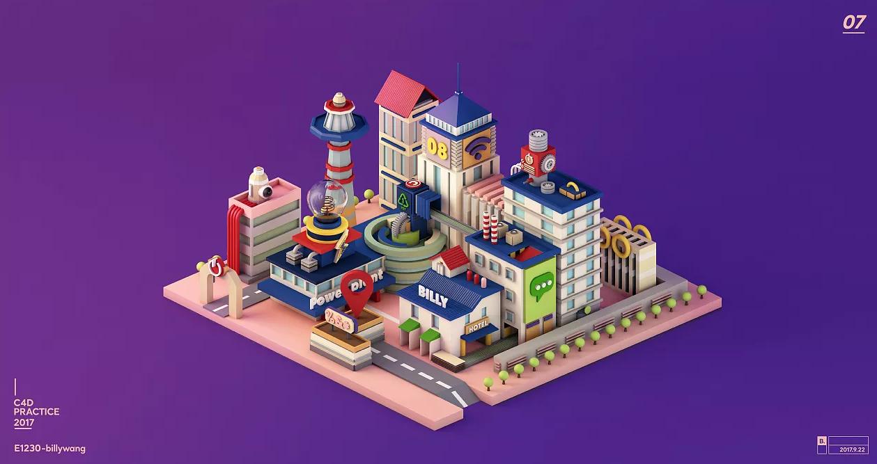 C4D作品 MG风格建筑小城市