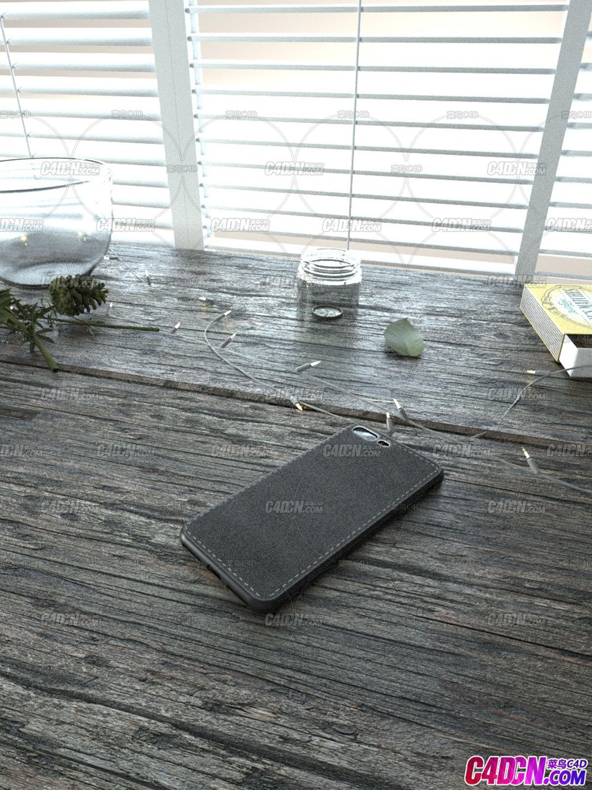 布纹手机壳场景模型