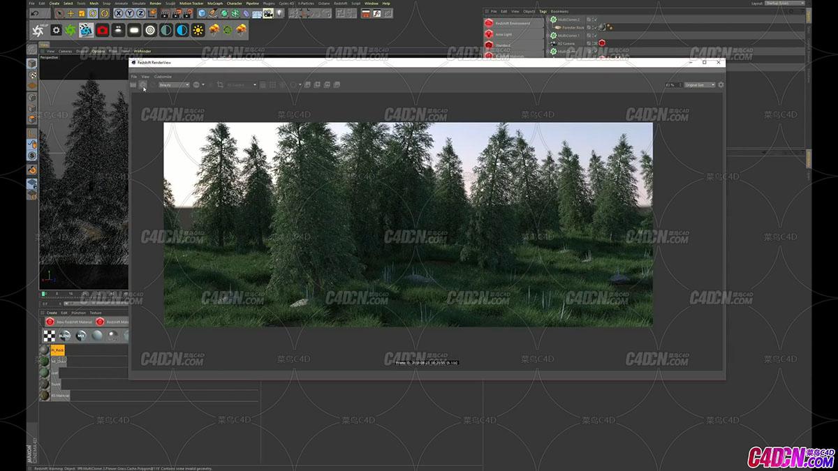 Redshift for C4D 创建简单树林场景英文教程