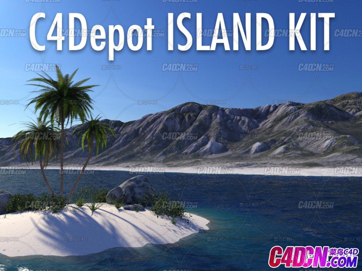 C4D预设 C4Depot岛屿植物景观套装预设
