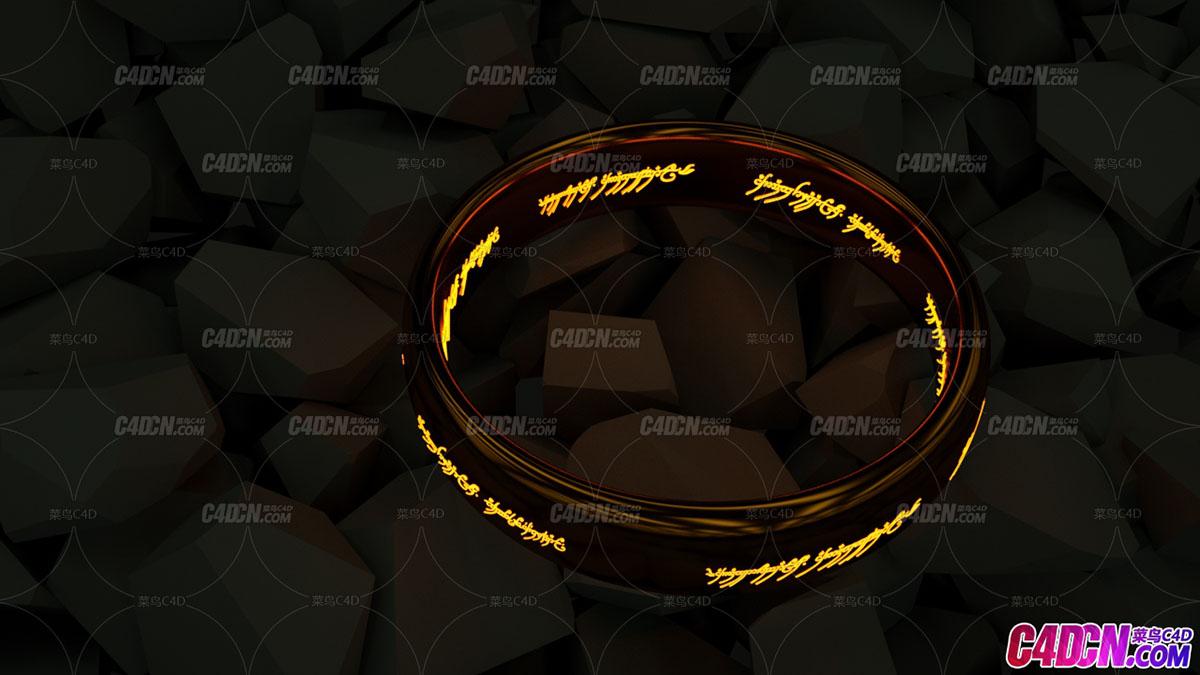 碎石中的指环王发光戒指