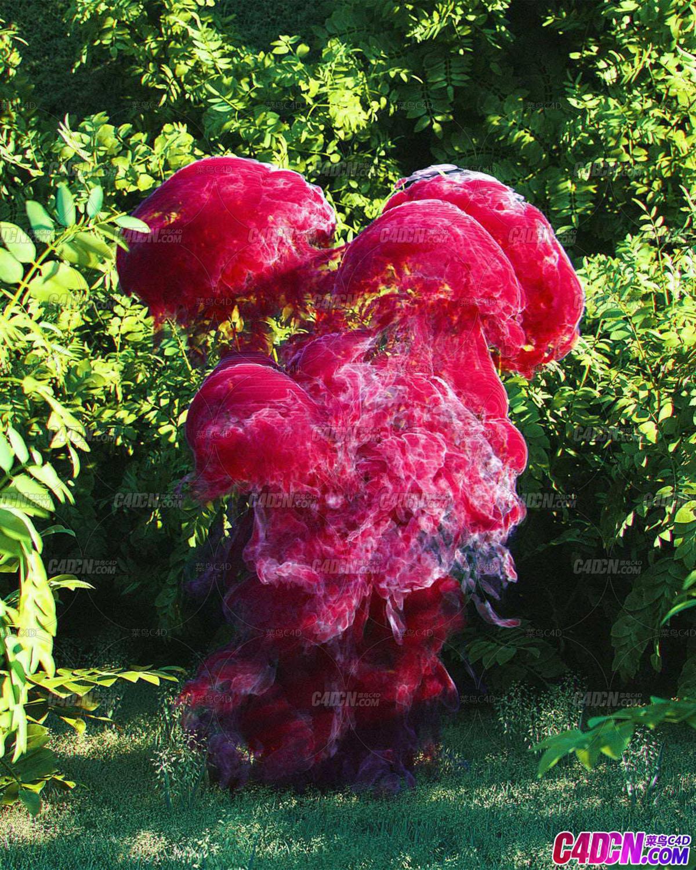 Octane渲染器植物丛林里的红色烟雾C4D工程