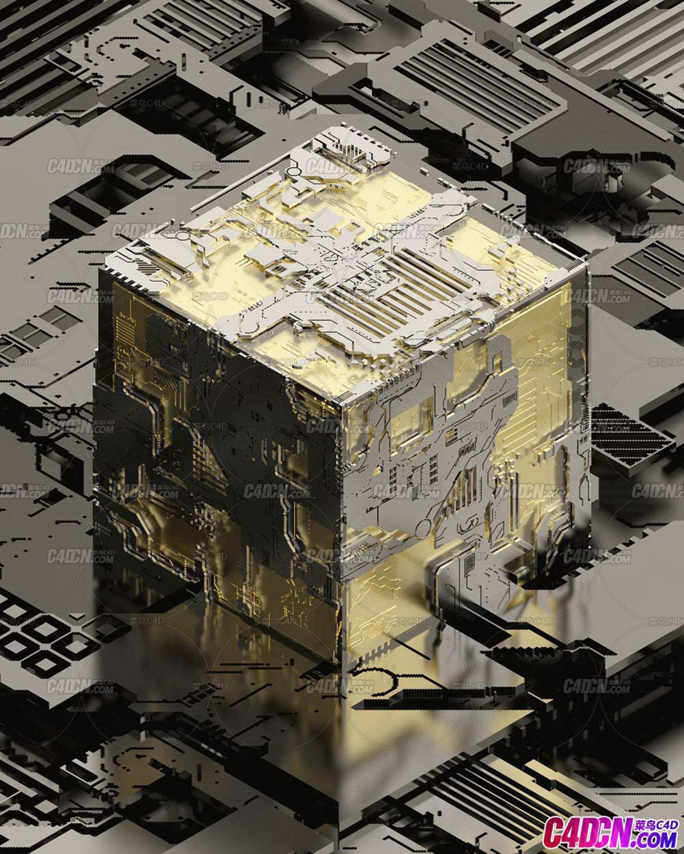 Octane渲染器科幻金属机械零件盒子C4D模型
