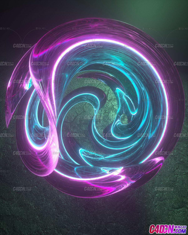 Octane渲染器发光彩带拉丝C4D工程