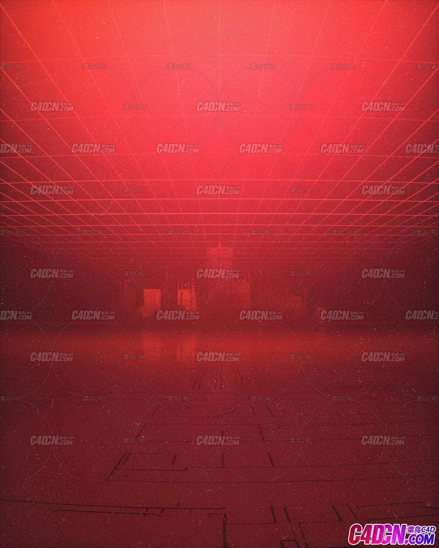 Octane渲染器红网格下的梦幻城堡C4D模型