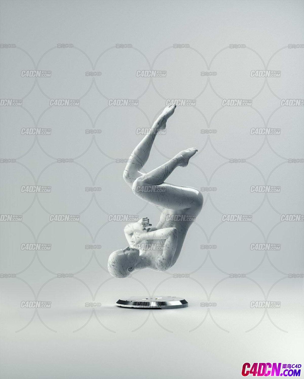 Octane渲染器有裂纹的石膏人体雕像C4D模型