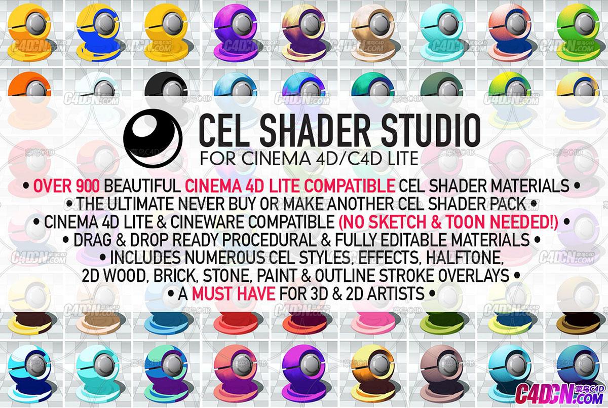C4D材质预设 900组超大C4D卡通细胞材质预设 Eyedesyn Cel Shader Studio for Cinema 4D