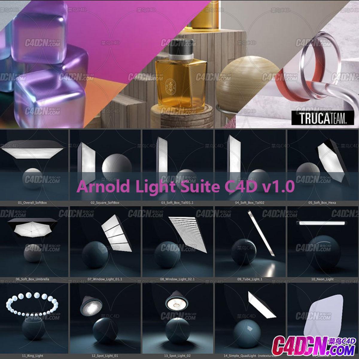 C4D預設 阿諾德燈光環境場景預設 Arnold Light Suite C4D v1.0