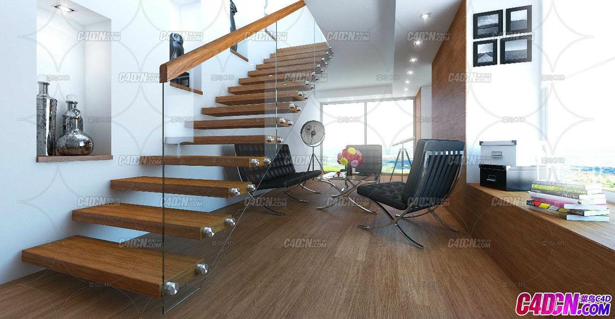 C4D模型 别墅休息室 真皮沙发 储物箱 书本 木板楼梯