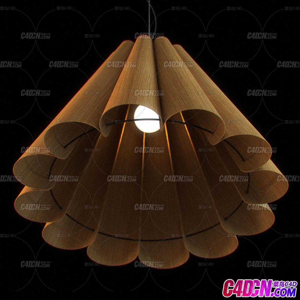 C4D模型 实木锥形照明灯具吊灯模型