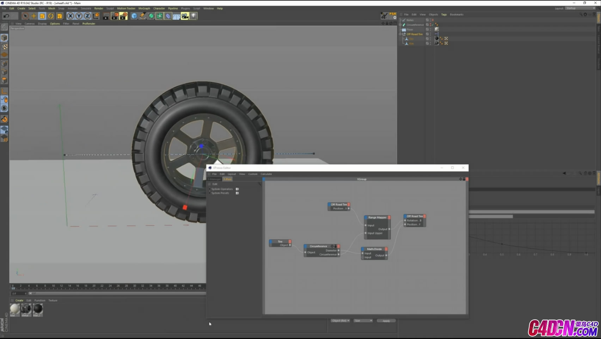 汽车轮胎滚动xpresso节点绑定C4D教程