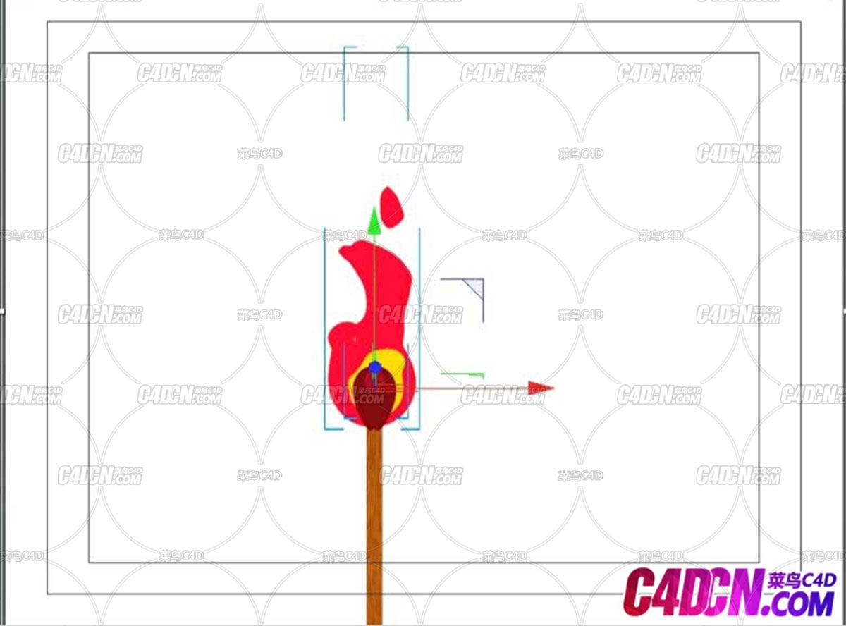 粒子发射器配合融球工具制作二维燃烧火柴卡通材质C4D教程