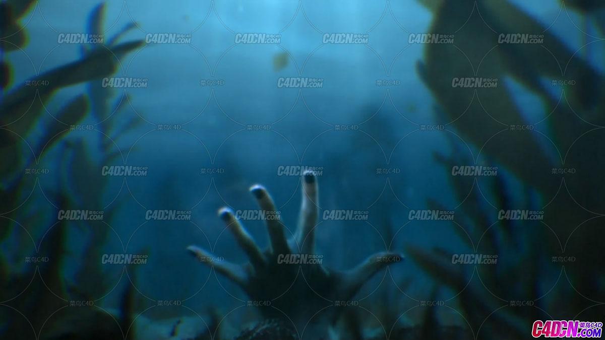 DT数字导师 - 在CINEMA 4D和After Effects中设计水下手掌惊悚恐怖场景合成C4D教程(含